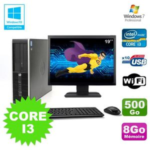 UNITÉ CENTRALE + ÉCRAN Lot PC HP Elite 8200 SFF Core I3 3.1GHz 8Go 500Go