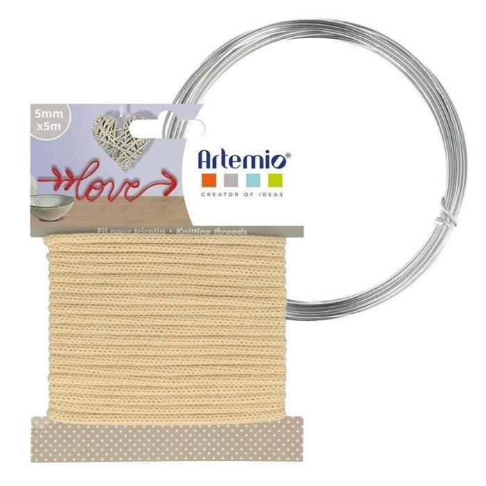 Fil à tricotin vanille 5 mm x 5 m + fil d'aluminium