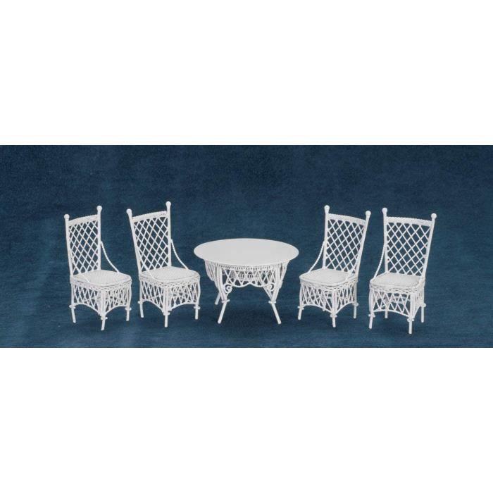 Maison de Poupées Fer Forgé Gathering Table Et 4 Chaises Miniature Jardin Meubles