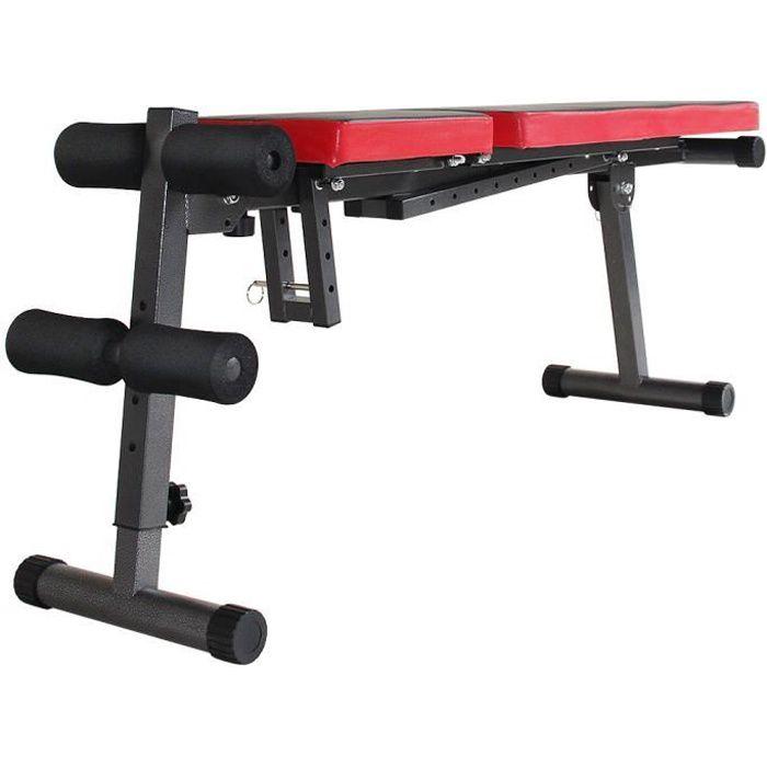 Banc de Musculation Multifonction Mixte, abdominaux d'entraînement dossier Réglable Pliable Inclinable