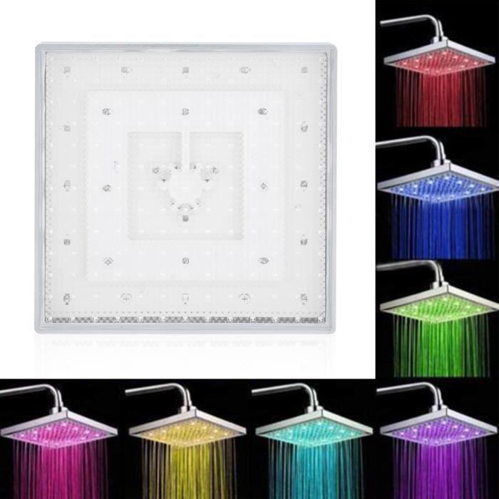Pommeau de douche à LED carré à effet de pluie chromé de 8 pouces 7 couleurs changeantes lumière romantique pour salle de bain-LAV