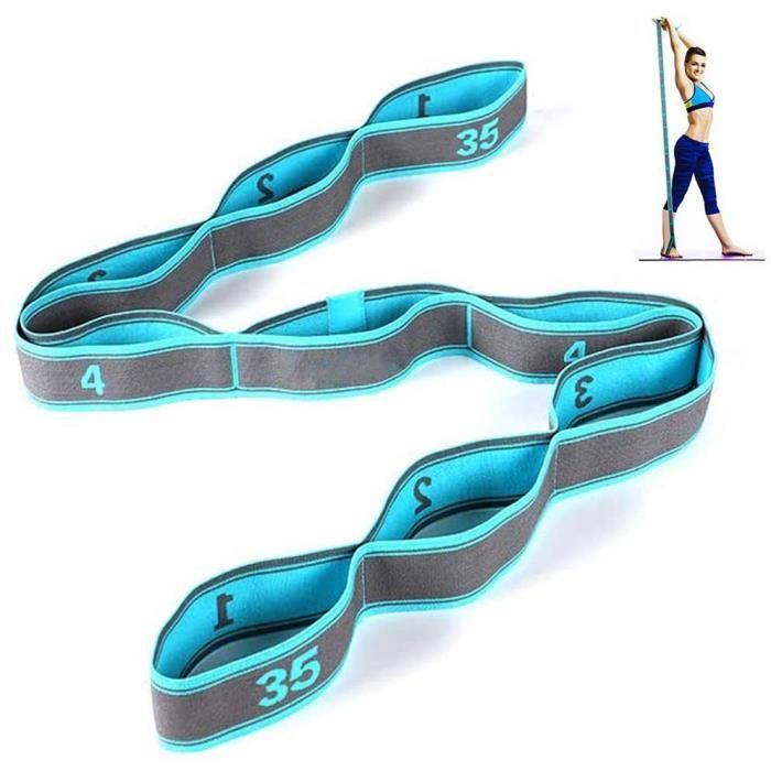 Bande de Yoga Stretch - Avec 9 bandes - Adultes Bande de Résistance élastique Pour le Fitness, le Pilates, la physiothérapie (Bleu)