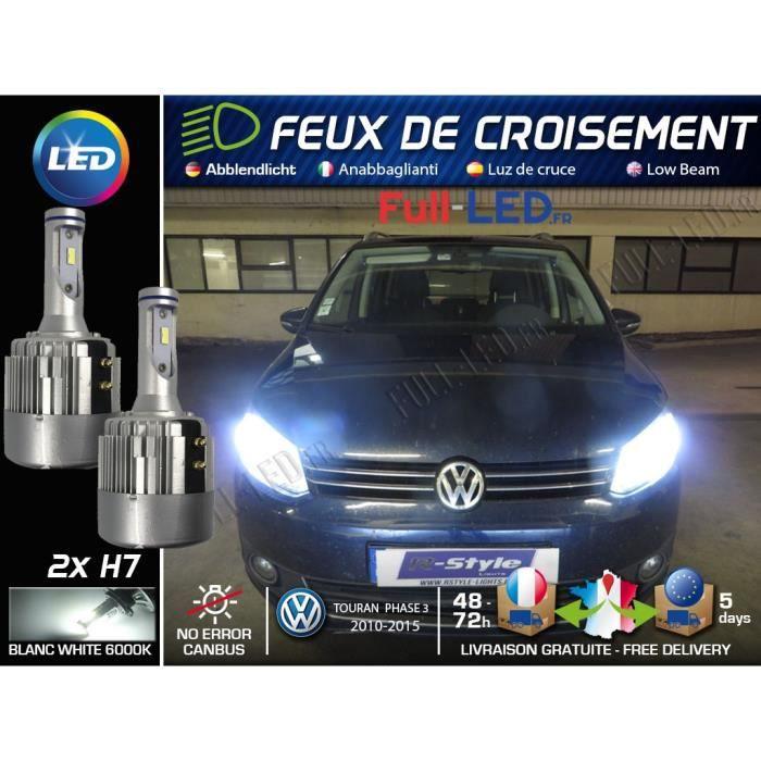 Ampoules LED H7 - Spécial Volkswagen Touran 1T3 - Feux de croisement