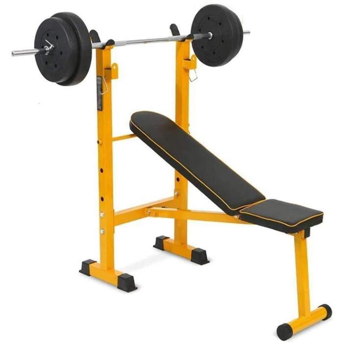 Banc De Musculation Olympique Pliable Lit D'haltérophilie Ensemble De Lit Haltère Bench Press Barbell Gymnastique À Domicile, Exerci