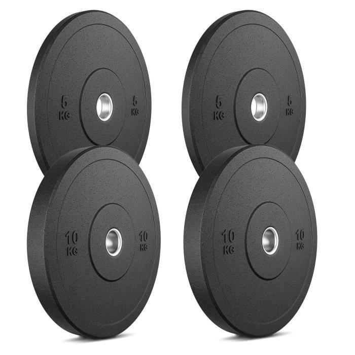 Marbo Sport Bumper Plates Plaques de poids en caoutchouc solide Set 30 kg / 2 x 10 kg + 2 x 5 kg / ø50 / 51 mm