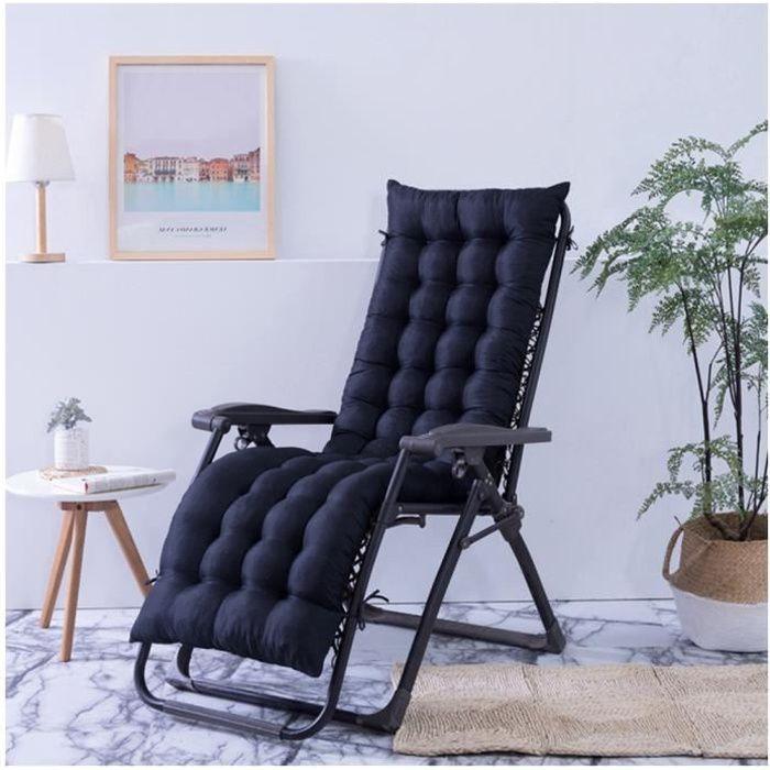 Coussin Bain de Soleil Jardin Pliable Anti-Dérapant Coussin Chaise Longue Epais Confort,48x160cm,Noir