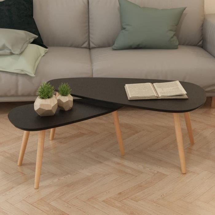 Lot de 2 Tables Basse Style Scandinave Tables de Salon - Ensemble de Table Basse de Salon contemporain scandinave - meuble tv - -