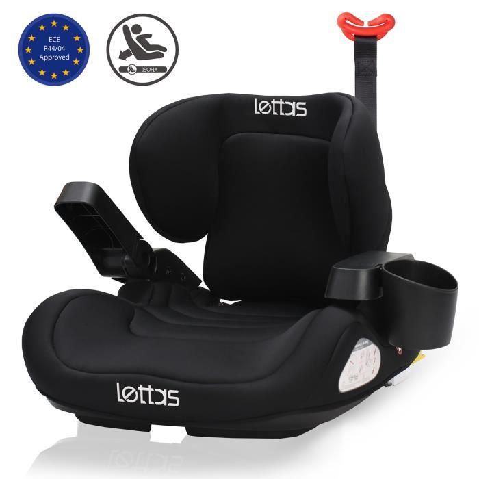 LETTAS Siège Auto Rehausseur pour Enfants de Groupe 3 (6-12 ans) avec Dossier Plus Confort et Accoudoirs Réglables Noir