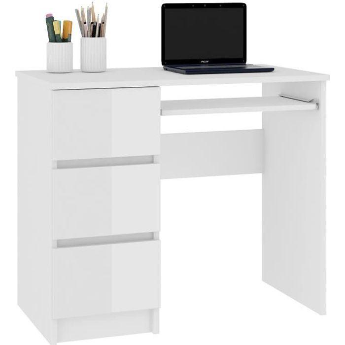 MIR - Bureau informatique multimédia moderne 90x77x50 - 3 tiroirs + support clavier - Table ordinateur multi-rangements - Blanc Laqu