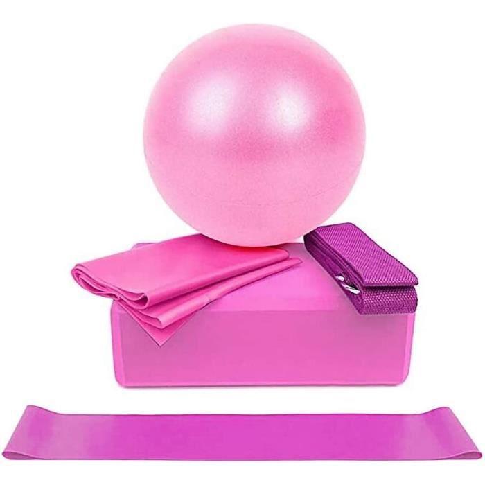 5pcs Bandes de Résistance Elastiques Musculation Fitness Kit, Boule de Yoga Résistance Boucle Boule d'exercice Sangle Ceinture rose