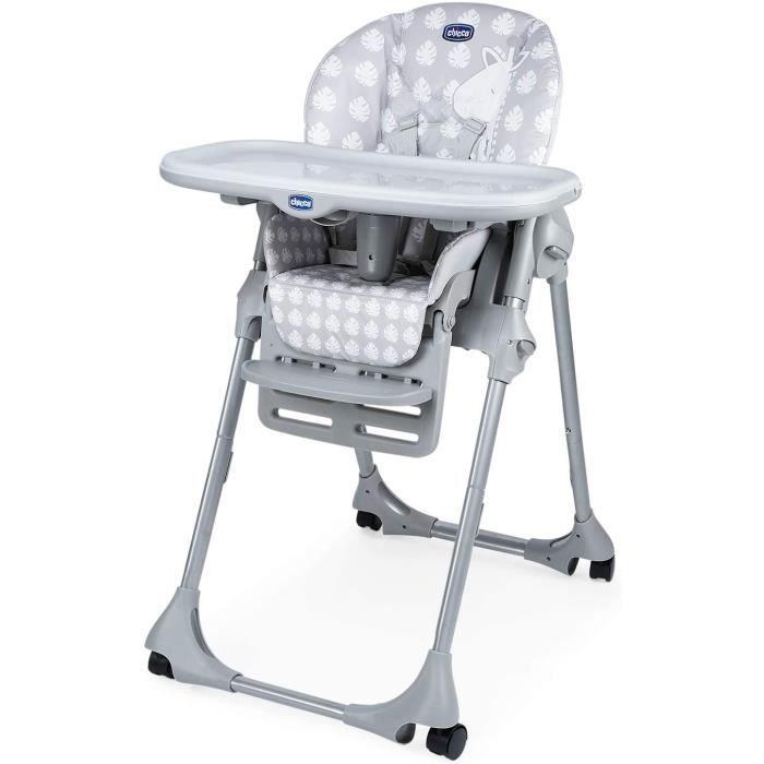 Chaise de bébé Chicco - Chaise Haute B&eacutebé Polly Easy - 4 Roues - R&eacuteglable, Pratique et Compacte - Giraffe10