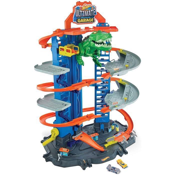 VEHICULE MINIATURE ASSEMBLE ENGIN TERRESTRE MINIATURE ASSEMBLE Hot Wheels City Super Dino Robot Garage avec T-Rex, pour conten17