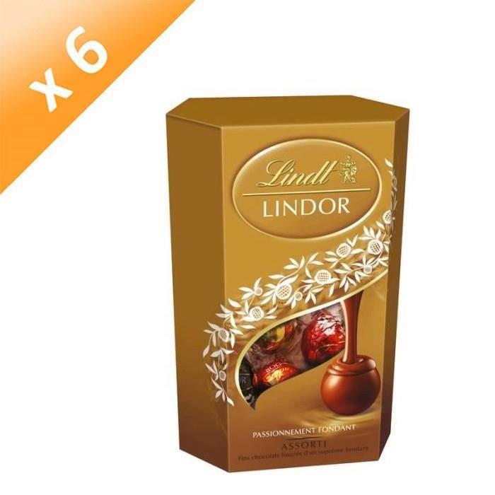 [LOT DE 6] Confiserie de Chocolat Lindt Lindor Assorti - Cornet 200G