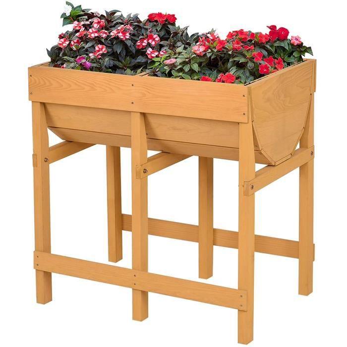 GOPLUS Jardinière Surélevée en Sapin Résistant aux Intempéries,Potager de Jardin sur Pied avec2Bacs à Fleurs pour Balcon et Terrasse