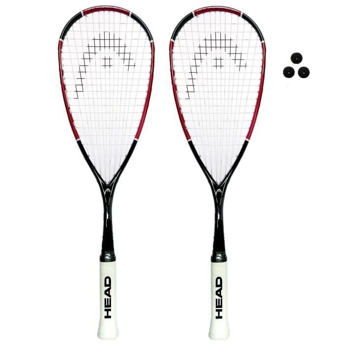HEAD Nano Ti 110 Raquette de Squash (diverses Options) (Deux Raquettes Plus balles)