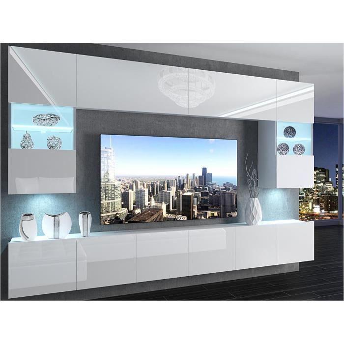 PRINS - Ensemble meubles TV avec LED - Unité murale - Largeur 300cm - Mur TV à suspendre - Blanc