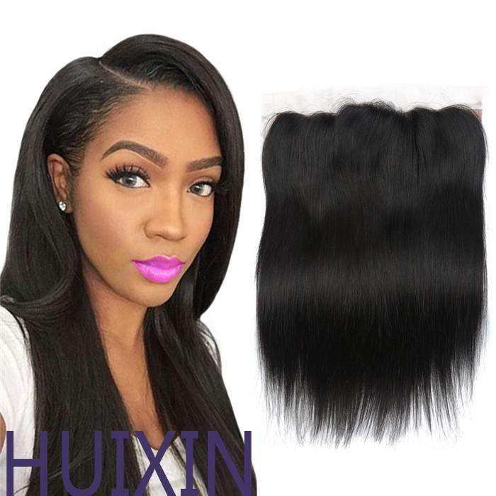 Brésilienne droite 13*4 Lace Frontal Closure 1 pcs couleur naturelle 100% extension de cheveux 14 Pouces