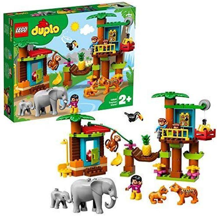 LEGO-DUPLO L'île tropicale Pour Tout Petits, Fille et Garçon dès 2 Ans, 73 Pièces 6 animaux 10906 10906