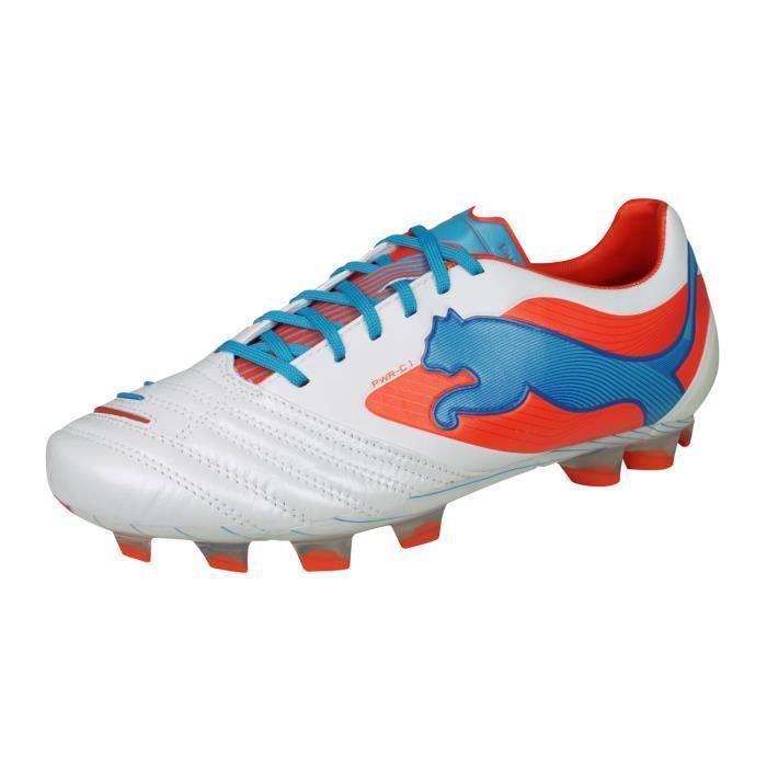 Puma PowerCat 1 FG Homme Cuir Chaussures de Football Terrain Sec Blanc 10