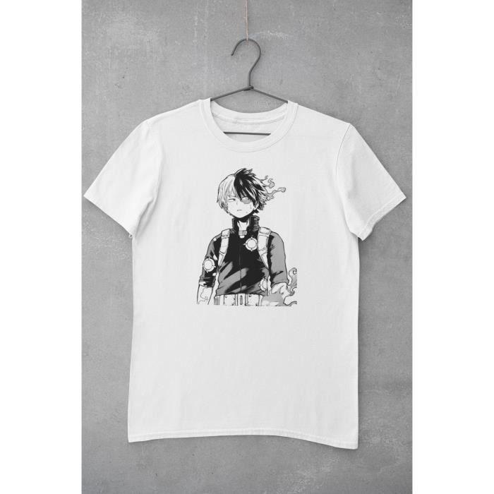 T Shirt Blanc Unisexe Illustration de Shoto Todoroki Personnage du manga Noir et Blanc My Hero Academia