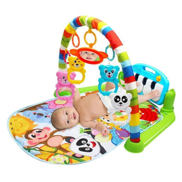 3 en 1 bébé Piano Tapis de jeu Tapis de jeu Musique et lumières Vert JOUET pour enfants