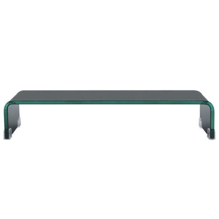 Meuble TV-Contemporain Scandinave- Support pour moniteur 60 x 25 x 11 cm Verre Noir