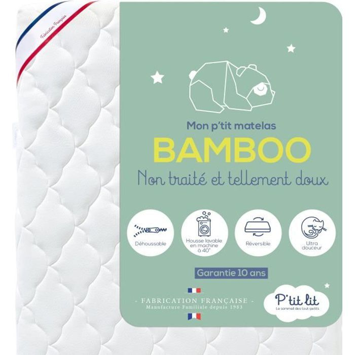 P'tit Lit - Matelas Bébé Bamboo - 60x120 cm - Viscose Douce et Absorbante - Sans traitement chimique - Déhoussable - Oeko Tex® -