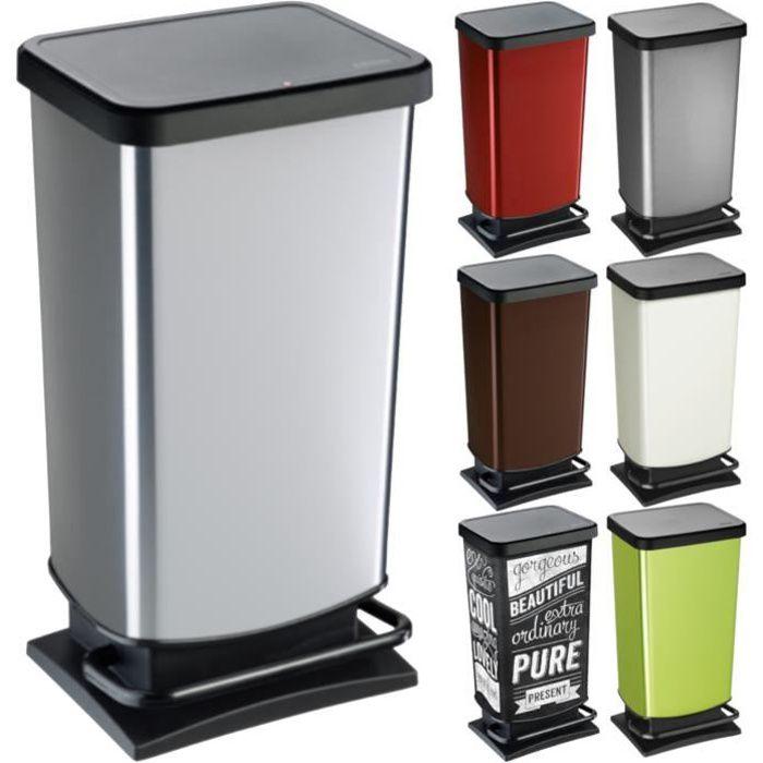 ROTHO Poubelle à pédale PASO 40 litres carré rouge métallique - Poubelle pour une élimination facile des déchets