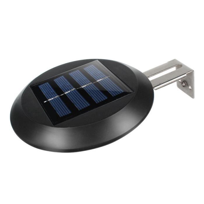2PCS / Set 9LED lumière blanche mur solaire extérieure étanche jardin clôture évier rond (noir) LAMPE A POSER