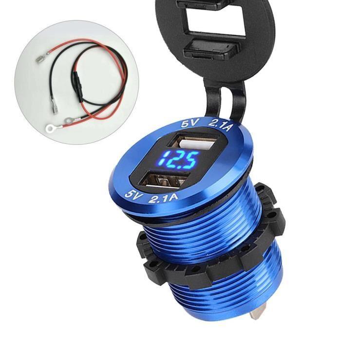 VBESTLIFE chargeur USB moto 12-24V adaptateur secteur allume-cigare double chargeur USB avec voltmètre LED pour moto