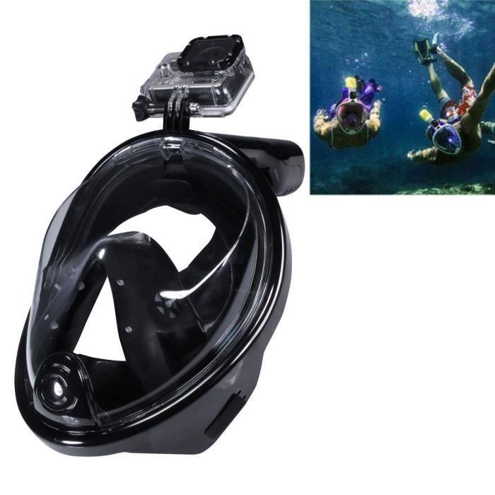 Masque de Plongée Étanche avec fixation universelle GoPro ou Caméra Sport Noir