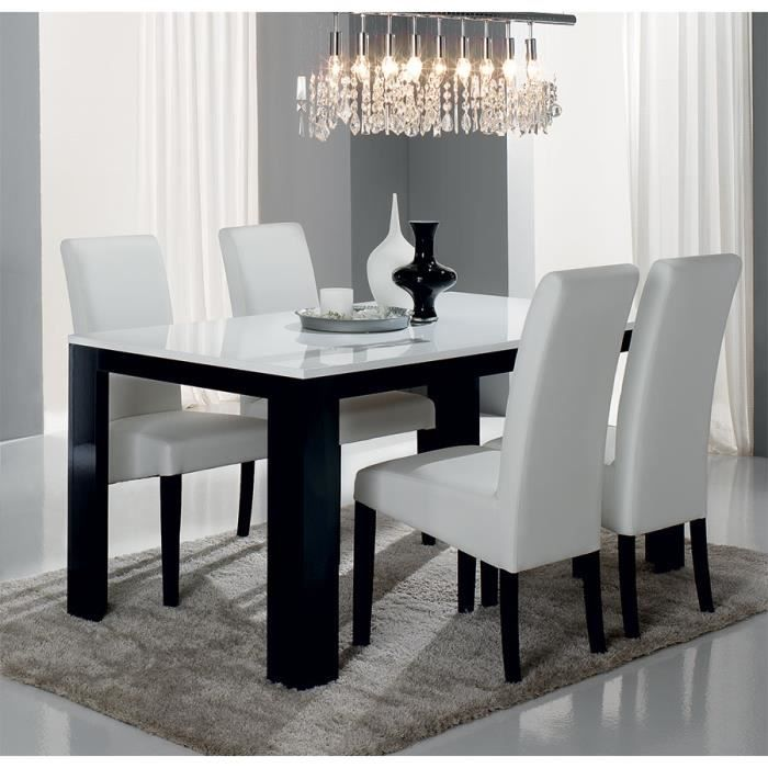 Table manger noir et blanc laqu design bianka table 160 cm achat vente - Table a manger noir laque ...