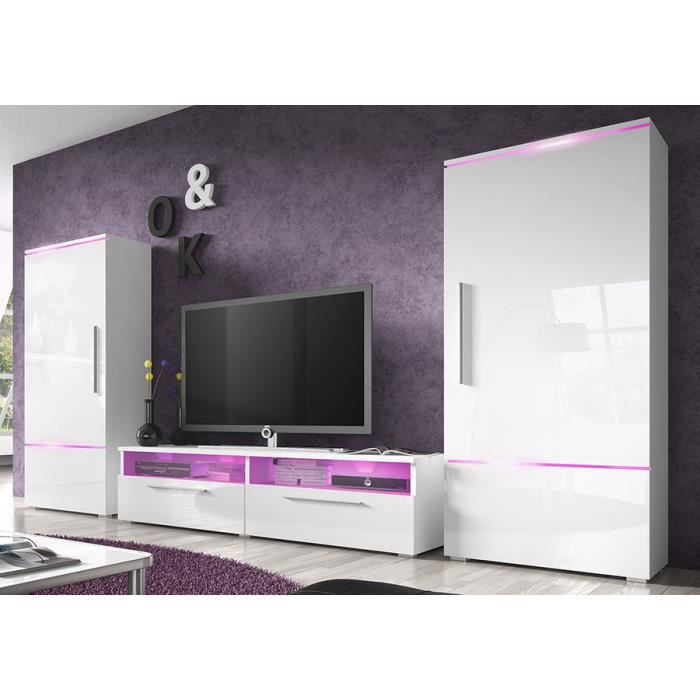 Ensemble meuble tv blanc laqu brillant design canon sans - Meuble blanc laque brillant ...