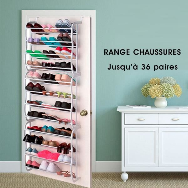 meuble a chaussures 12 etag res suspendre sur porte de placard capacit de 36 paires de. Black Bedroom Furniture Sets. Home Design Ideas