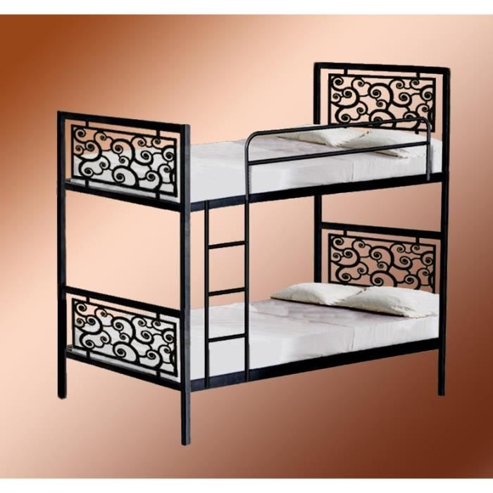 lits superpos s en fer forg mod le escargots achat vente lits superposes lits superpos s. Black Bedroom Furniture Sets. Home Design Ideas