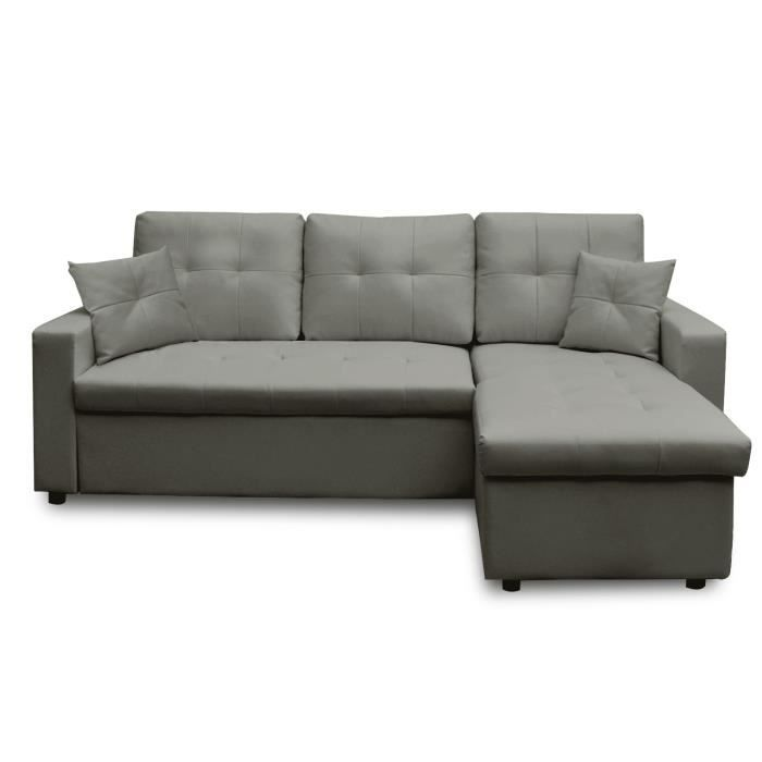 Canap d 39 angle droit convertible gris achat vente canap sofa div - Cdiscount canape angle convertible ...