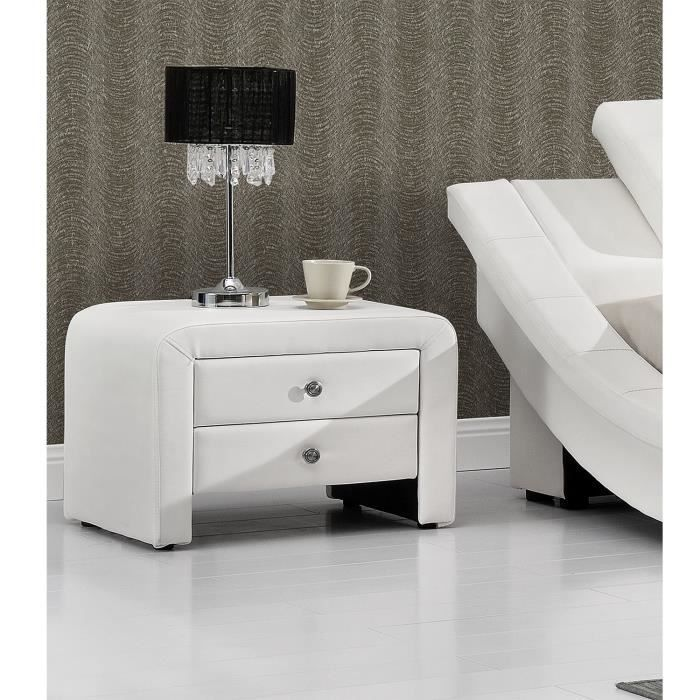 table de chevet en simili blanc 2 tiroirs sara caract ristiques structure en panneaux de. Black Bedroom Furniture Sets. Home Design Ideas