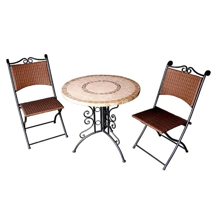 Salon de jardin 2 chaises pliantes + 1 table, ensemble de ...