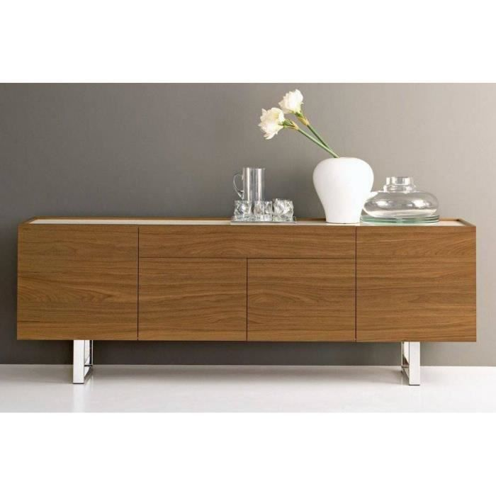 buffet bas design horizon de calligaris noyer plateau verre extra blanc achat vente buffet. Black Bedroom Furniture Sets. Home Design Ideas