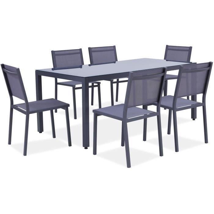 Ensemble table de jardin 180 cm + 6 chaises aluminium gris