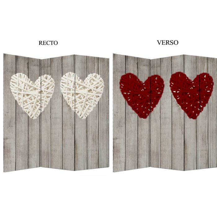paravent t te de lit 2 faces 150x140cm heart natural 140cm rouge beige blanc achat vente. Black Bedroom Furniture Sets. Home Design Ideas