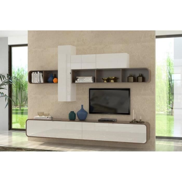 composition tv murale cobra noyer et blanc brillant achat vente meuble tv composition tv. Black Bedroom Furniture Sets. Home Design Ideas