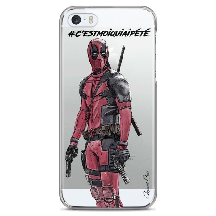 coque iphone 5c transparente motif deadpool2 wate
