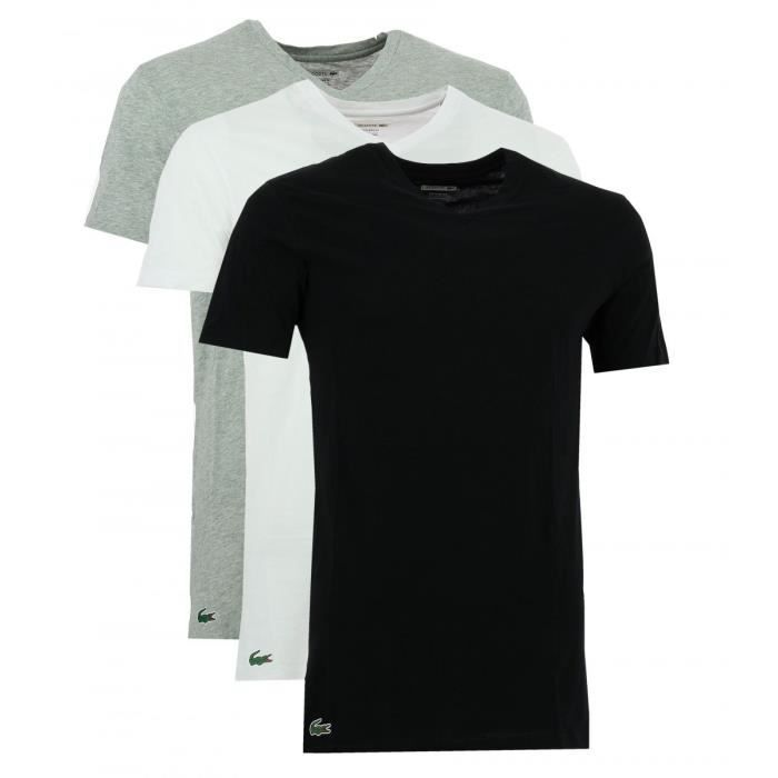 pack 3 tee shirts lacoste noir blanc gris 150999 901. Black Bedroom Furniture Sets. Home Design Ideas