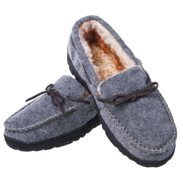 Slip Plush Thick Ur07e Lining Slippers Shoe Outsole Anti Microsuede Moccasin On Outdoor slip 43 Taille Indoor Rubber zqdqpr