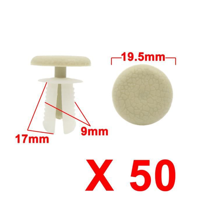 sourcingmap/® 50pcs blanc beige porte Voiture Clips fixation aile rivets plastique bon trou 8mm