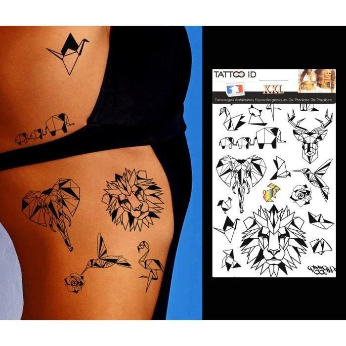 Tattoo Id Xxl Origami Animaux Tatouage Ephemere Temporaire Hypoallergenique Fabrique En France 1 Planche 22cm X 14 5cm Homme Femme Achat Vente Tatoo Bijou De Corps Tattoo Id Xxl Origami Animaux Cdiscount