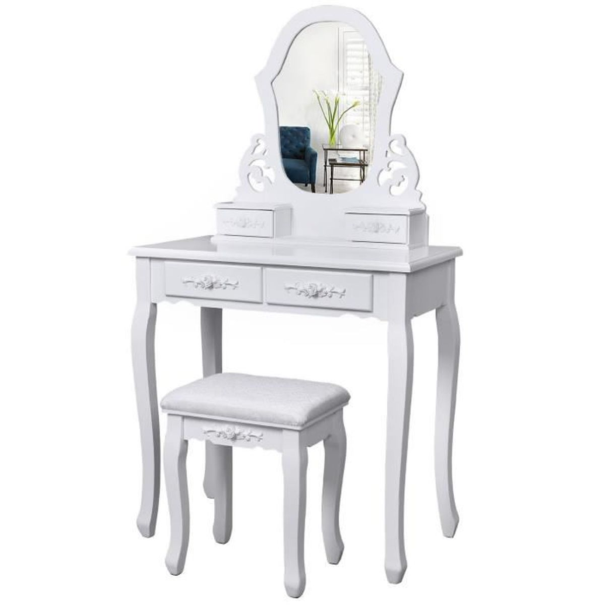 tulipe coiffeuse blanche table de maquillage avec miroir 4 tiroirs s parations pour tiroirs et. Black Bedroom Furniture Sets. Home Design Ideas