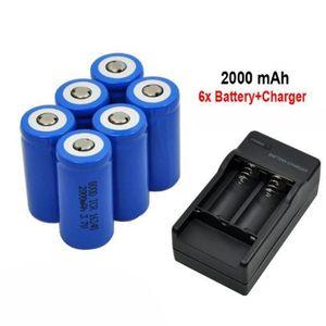 CHARGEUR DE PILES 6x 2000mAh 16340 batterie rechargeable Li-ion pour