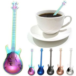 7 Pcs Acier Inoxydable Arc-en-Guitare Forme Café Mélange Cuillère à boire du thé cuillère